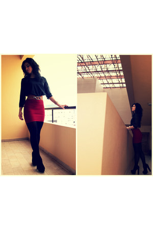 black shirt - ruby red WW skirt - tawny belt - black heels