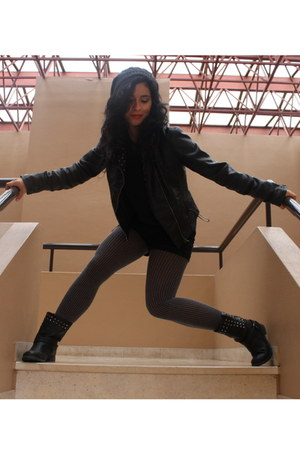 black Lefties boots - black Zara jacket - heather gray Calzedonia tights