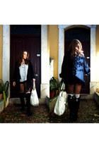 black Iqon boots - eggshell Mango shirt - cream Bershka bag - black Zara shorts