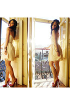 cream Bershka dress - dark brown Zara accessories - red Seaside heels
