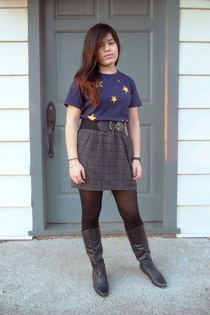 black vintage boots - navy unknown brand shirt - charcoal gray Forever 21 skirt