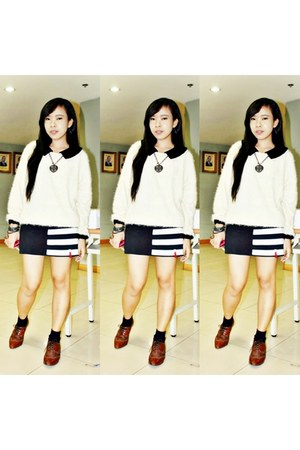 brown xxx shoes - black xxx dress - off white xxx sweater