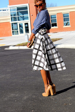 vintage skirt - H&M shirt - zeroUV sunglasses - 6pm heels