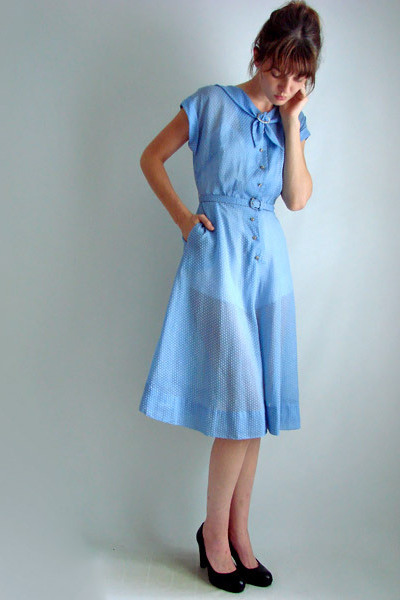 Vintage Dresses  &quotvintage 50s 60s Blue SWISS DOT Embroidered Day ...