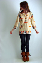 beige The Family Vintage ebay sweater - brown TFV personal collection boots - bl