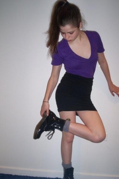 American Apparel t-shirt - skirt - H&M socks - doc martens shoes