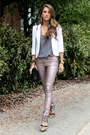 White-aqua-blazer-charcoal-gray-joie-shirt-black-chanel-bag