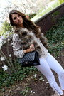 Fur-love-token-vest-white-current-elliott-jeans-black-chanel-bag