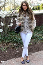 fur Love Token vest - white Current Elliott jeans - black Chanel bag