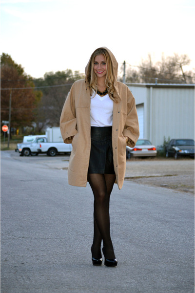 coat - t-shirt - heels