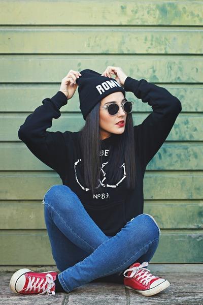 obey sweatshirt - JollyChic jeans - romwe accessories