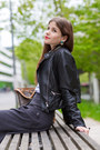 Charcoal-gray-maxi-skirt-black-leather-warehouse-jacket-black-nicholas-heels