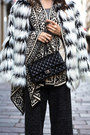 White-faux-fur-noisy-may-coat-black-chanel-bag-black-river-island-cape