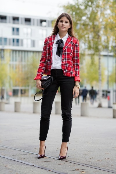 red tartan jacket - black J Brand jeans - maroon Semilla pumps