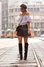 Black-knee-high-boots-black-free-people-skirt-white-grid-romwe-top