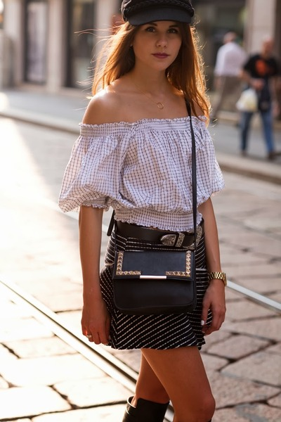 black knee high boots - black free people skirt - white grid romwe top