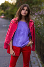 Red-suede-mango-jacket-purple-knit-sweater-red-j-brand-pants