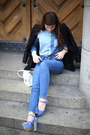 Blue-diesel-jeans-black-leather-sleeves-sheinside-jacket