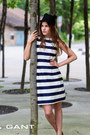 Striped-gant-dress-black-cat-ear-givenchy-hat