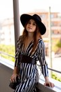 Navy-thakoon-dress-black-maison-michel-hat-black-bag