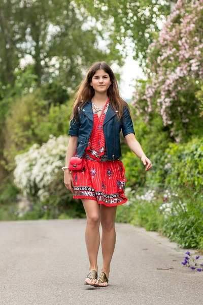red free people dress - navy leather Muubaa jacket - red Hermes bag