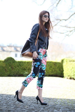 floral H&amp;M pants - black biker warehouse jacket - gray Club Monaco sweater