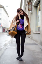camel jacket - black anna field boots - Louis Vuitton bag - purple owl jumper