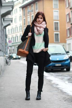 black anna field boots - black spliced coat - Louis Vuitton bag