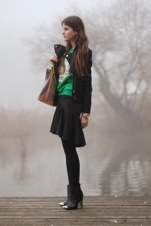 black toe cap H&M boots - black H&M jacket - noé Louis Vuitton bag - black skirt