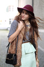 Light-blue-peplum-zara-skirt-brick-red-h-m-hat-heather-gray-h-m-sweater
