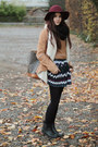 Black-chelsea-anna-field-boots-brick-red-h-m-hat-brown-jacket
