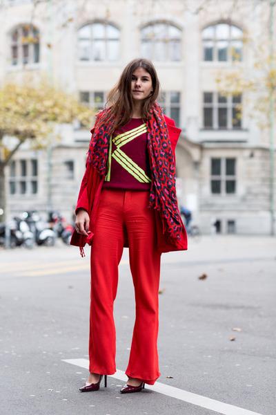 red Mango coat - maroon Kenzo sweater - red leo scarf - brown MCM bag