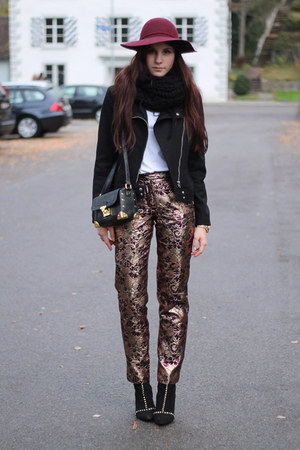 statement pants - black studded Zara boots - brick red H&M hat
