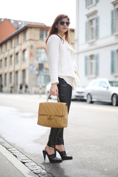 Chanel bag - jacket - transparent Superdry sunglasses - GoodNight Macaroon pants