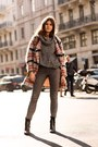 Black-boots-heather-gray-tartan-ganni-jacket-heather-gray-turtleneck-sweater