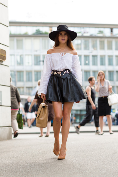 leather Harrods skirt - New Icons hat - quilted Chanel bag - Jimmy Choo heels