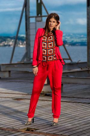 red Mango blazer - red Mango pants - zebra fortuna valentino heels