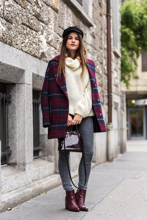 brick red Zign boots - brick red tartan coat - heather gray Cheap Monday jeans