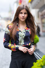 Black-leather-warehouse-jacket-floral-sheinside-shirt-black-jimmy-choo-heels