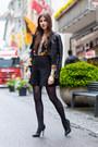 Black-leather-warehouse-jacket-floral-sheinside-shirt-black-jimmy-choo-heels