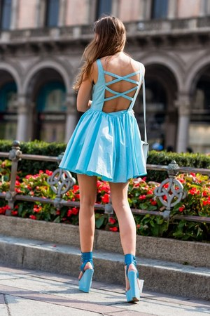 sky blue Casper & Pearl dress - sky blue Kurt Geiger wedges