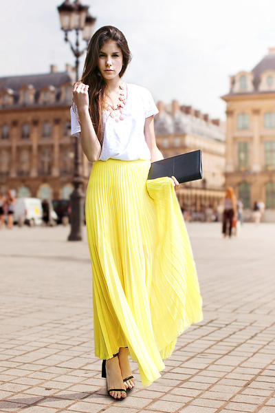 yellow skirt - black H&M bag - bubble gum H&M necklace