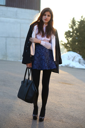 navy Zara skirt - black H&amp;M coat - white Zara blazer - white shirt - black bag