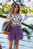 dotted shirt - Thierry Colson shorts - Stella McCartney heels - bird ring