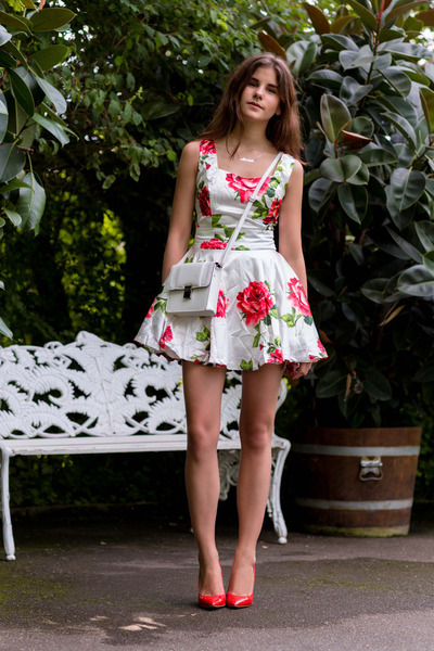 rose printed Sheinside dress - red Jimmy Choo heels - silver oNecklace necklace