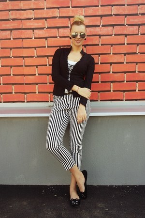 white pants - black Dorothy Perkins blouse