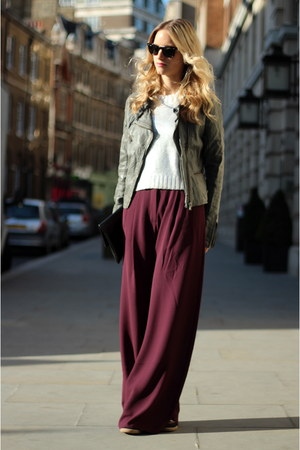 maroon acne pants - heather gray Bershka jacket - silver H&amp;M sweater