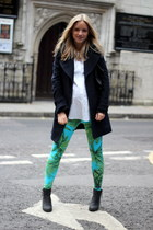 turquoise blue Versace for H&M leggings - black Sasha boots - navy Zara coat