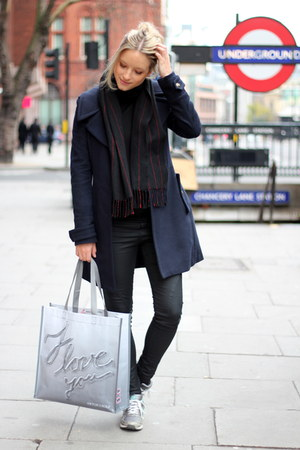 navy Zara coat - black PAUW scarf - silver Stop Aids Now bag