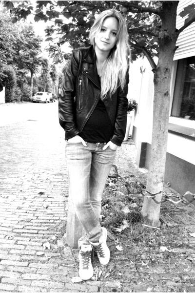 black PAUW jacket - blue H&M maternity jeans - black whistles t-shirt